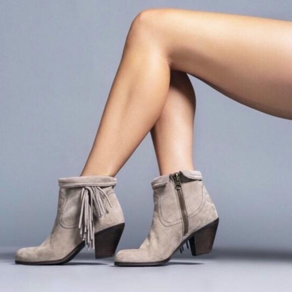 Sam Edelman Shoes - NEVER WORN Sam Edelman Louie Fringe Booties Grey
